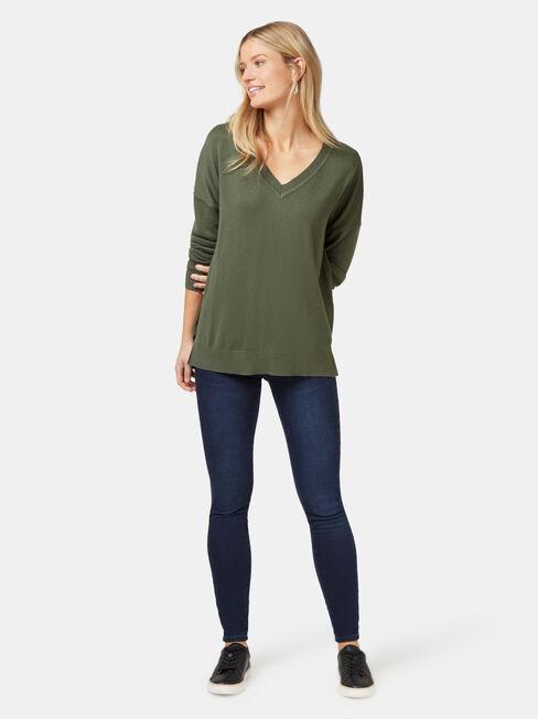 Cassidy Essential V-Neck Pullover, Green, hi-res