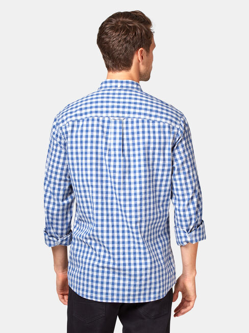Wayland Long Sleeve Check Shirt, Blue, hi-res