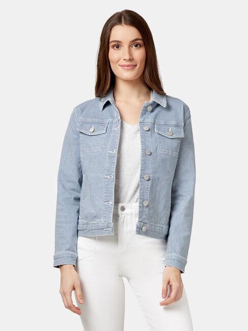 Sloane Stripe Cotton Casual, White, hi-res