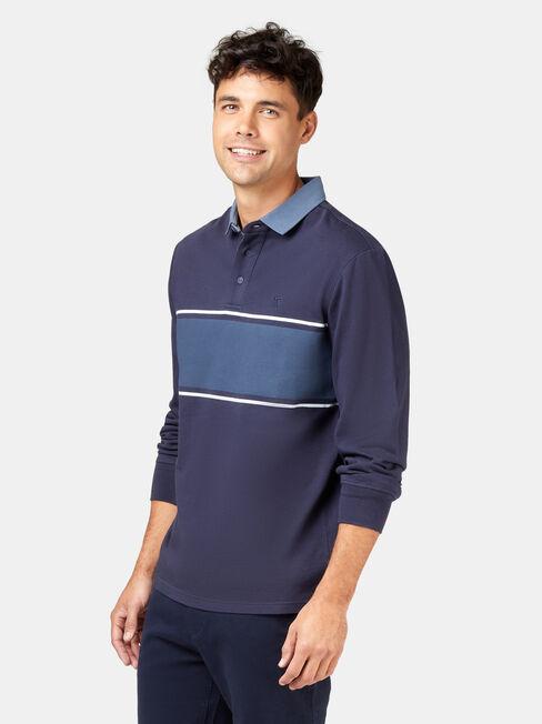 Casper Long Sleeve Rugby Polo, Blue, hi-res