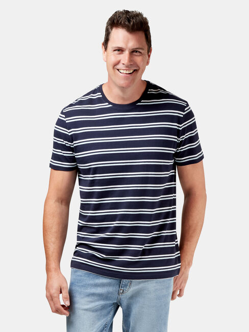 Pheonix Short Sleeve Stripe Crew Tee, Blue, hi-res