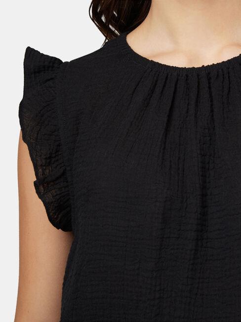 Frida Textured Frill Sleeve Top, Black, hi-res