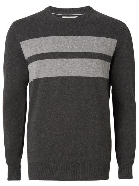Arlington Panelled Crew Knit, Grey, hi-res