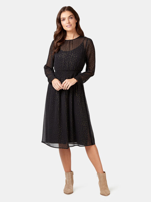 Addison Foil Spot Dress, Multi, hi-res