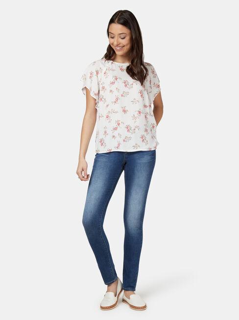 Victoria Flutter Sleeve Top, White, hi-res