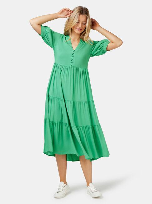 Esther Tiered Midi Dress, Green, hi-res
