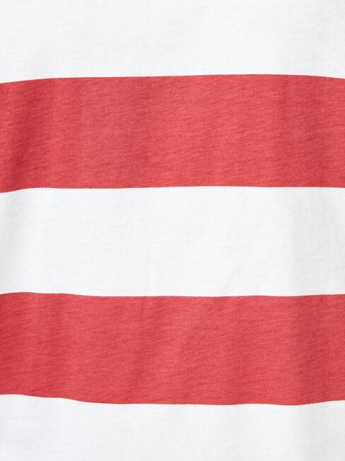 Mars Short Sleeve Stripe Crew Tee, Red, hi-res