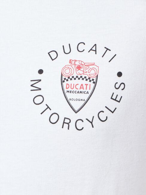 Ducati Short Sleeve Bologna Print Crew Tee, White, hi-res
