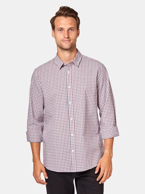 Joel Long Sleeve Check Shirt, Red, hi-res
