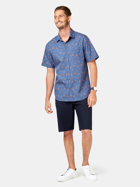 Finn Short Sleeve Print Shirt, Blue, hi-res