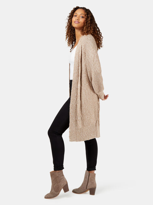 Cheryl Twist Cardigan, Brown, hi-res