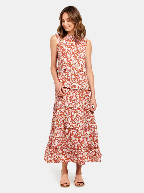 Sophie Slv Tiered Midi Dress, Brown, hi-res