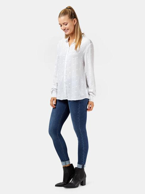 Daniela Embroidered Spot Shirt, White, hi-res