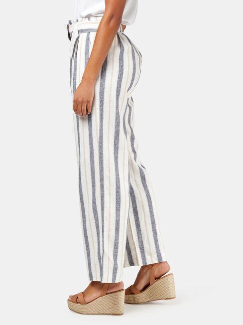 Phoebe Belted Stripe Pant, White, hi-res