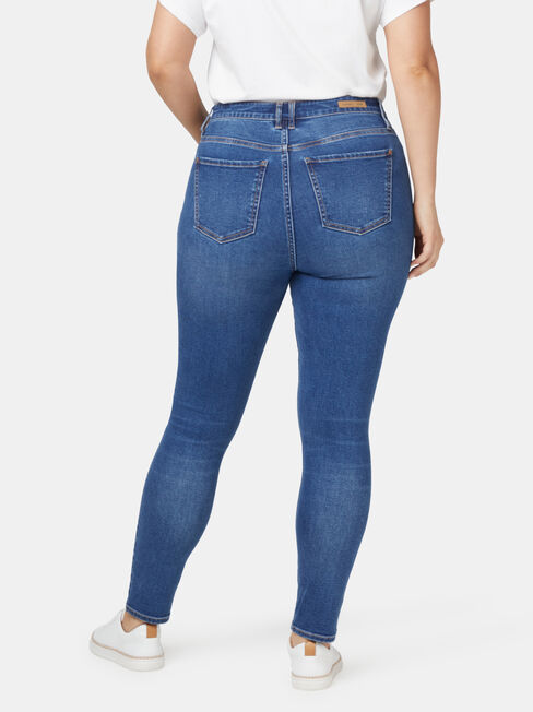 Ellie Curve Embracer High Waisted Skinny 7/8 Jeans Bright Indigo, Mid Indigo, hi-res