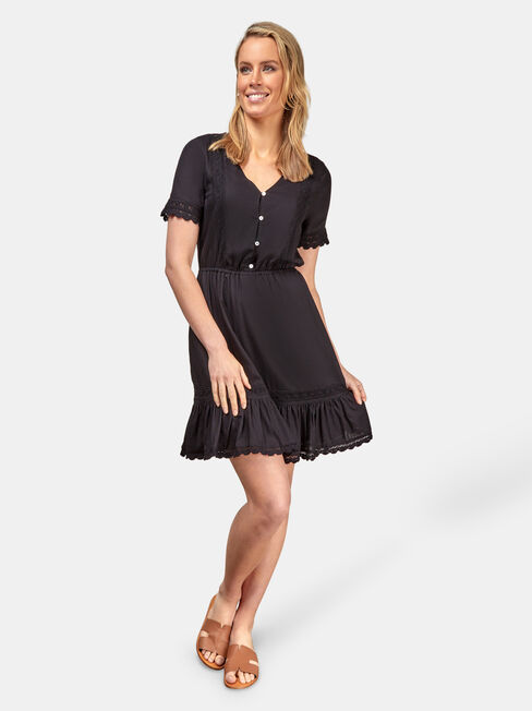 Allison Broderie Dress, Black, hi-res