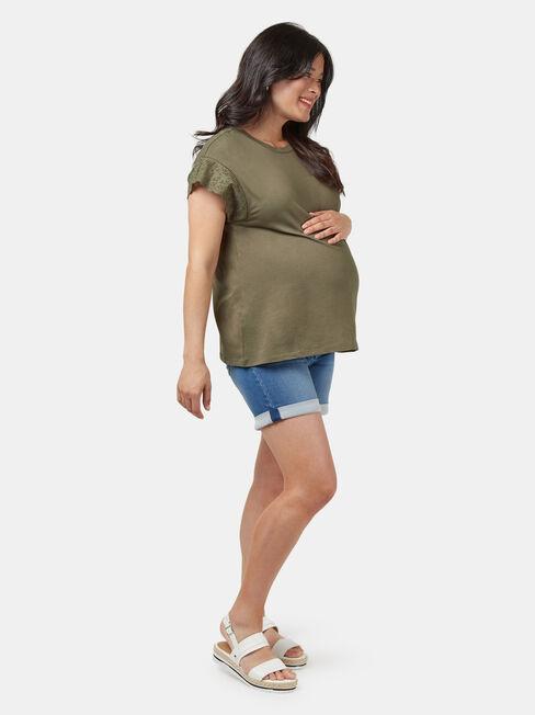 Elle Broderie Maternity Tee, Green, hi-res