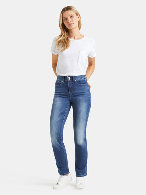 Tummy Trimmer Slim Straight Jeans Mid Sapphire, Mid Indigo, hi-res