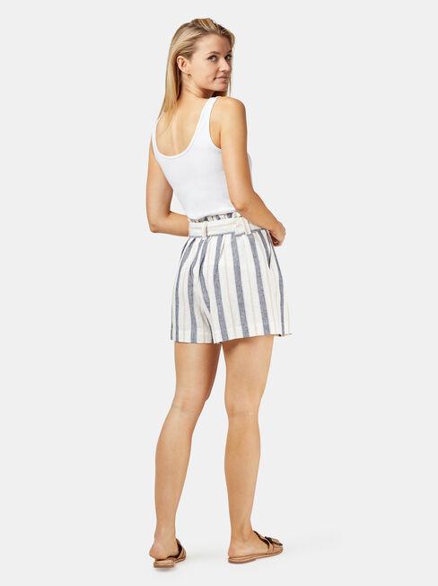 Phoebe Belted Stripe Short, White, hi-res