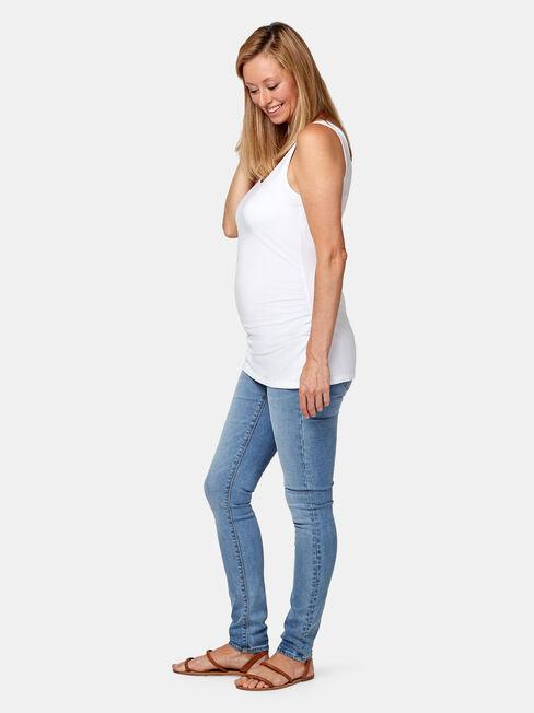 Lola Maternity Basic Tank, White, hi-res