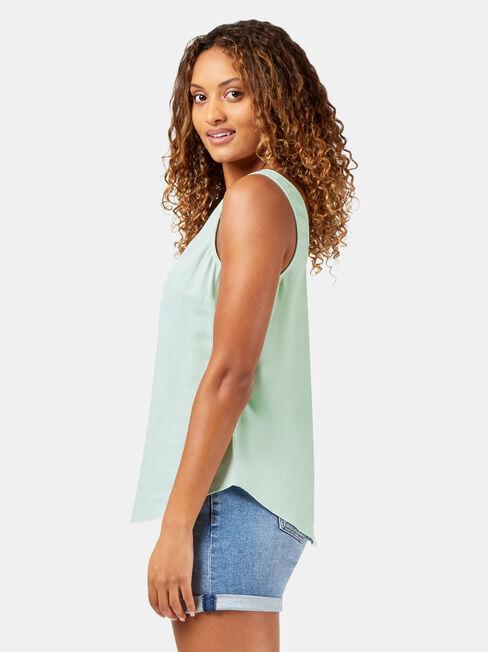 Kylie Linen Blend Tank, Blue, hi-res