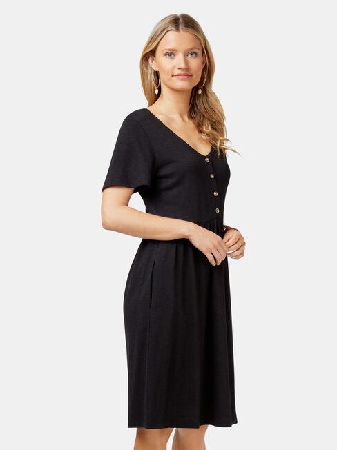 Isabel Jersey Dress, Black, hi-res