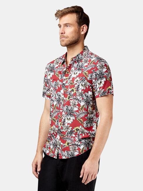 SS Tex Print Shirt, Red, hi-res