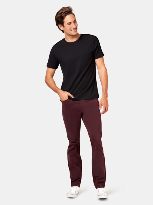 Slim Tapered Jeans Burgundy, No Wash, hi-res