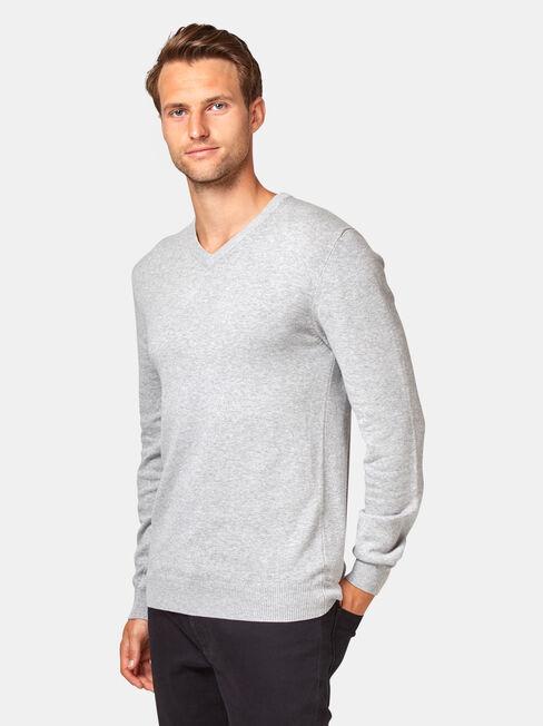 Grundy V Nk Knit, Grey, hi-res