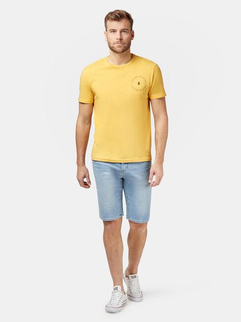 Deacon Short Sleeve Print Crew Tee, Yellow, hi-res