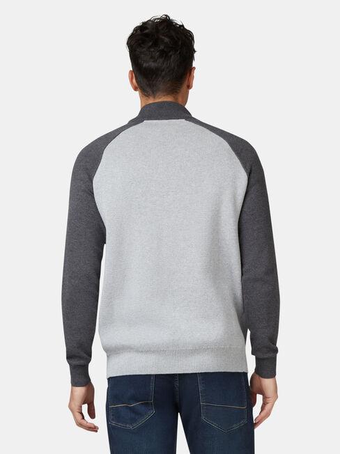 Austin Funnel Zip Neck Knit, Grey, hi-res