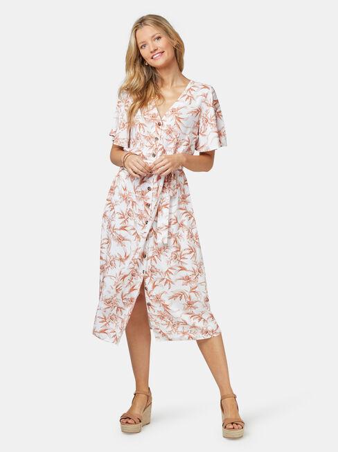 Veronica Button Thru Dress, White, hi-res