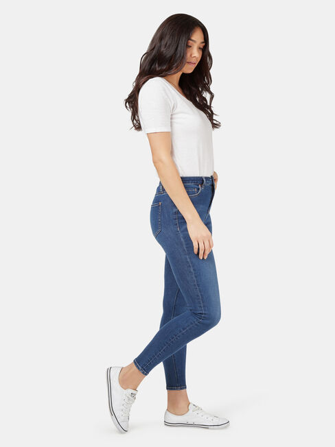 Olivia Mid Waisted Skinny 7/8th, Mid Indigo, hi-res