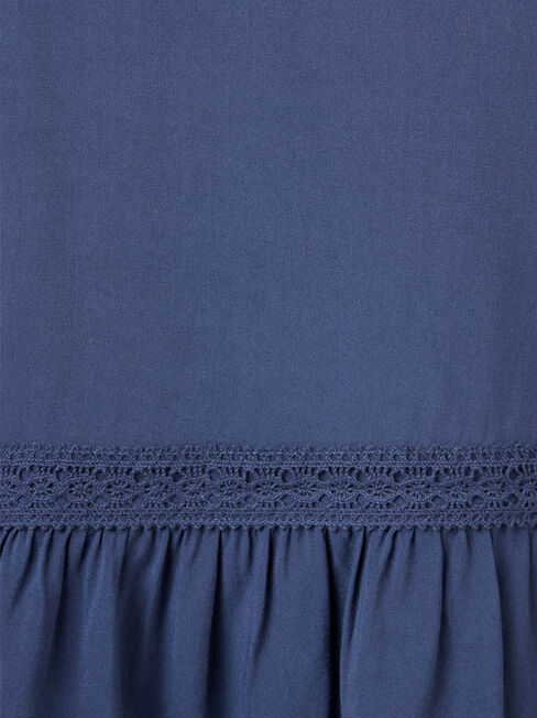 Kinsly Peasant Blouse, Blue, hi-res