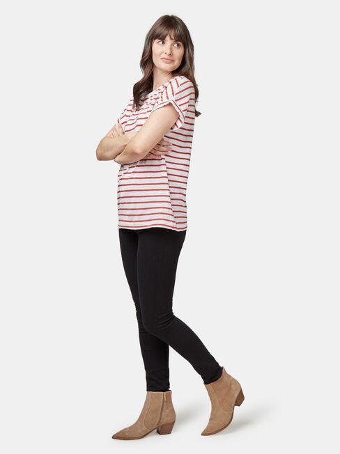 Drop Shoulder Tee, Multi Stripe, hi-res