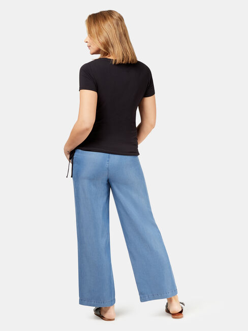 Alana Chambray Maternity Pants, Blue, hi-res