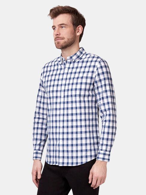 Caleb Long Sleeve Check Shirt, Blue, hi-res