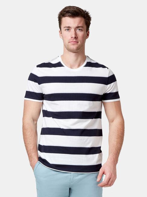Maxton Short Sleeve Stripe Crew Tee, Multi, hi-res