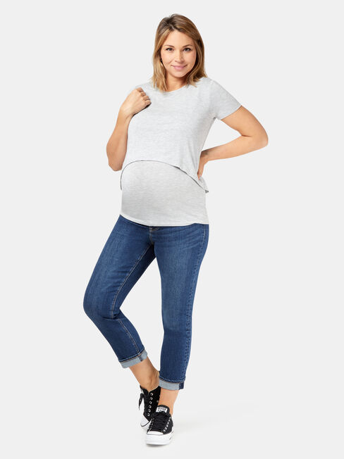 Celeste Layered Maternity Top, Grey, hi-res