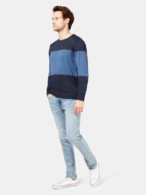 Ayden Block Stripe Crew Knit, Blue, hi-res