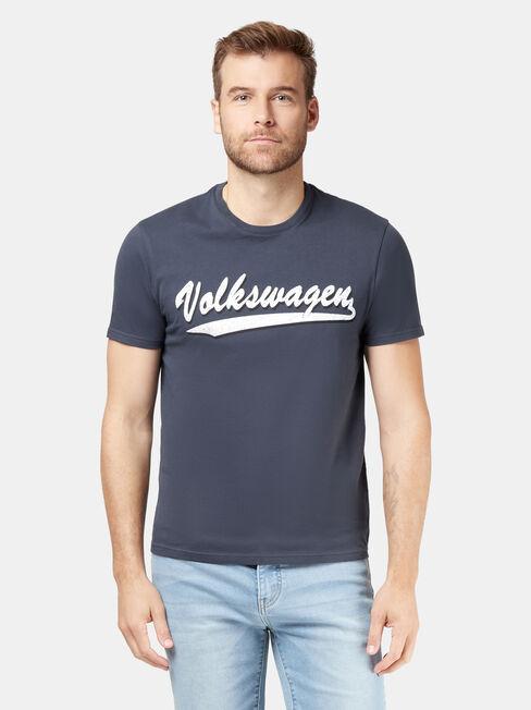 VW Logo Short Sleeve Script Print Crew Tee, Blue, hi-res