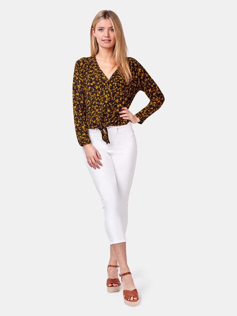 Tiffany Tie Front Shirt, Black, hi-res
