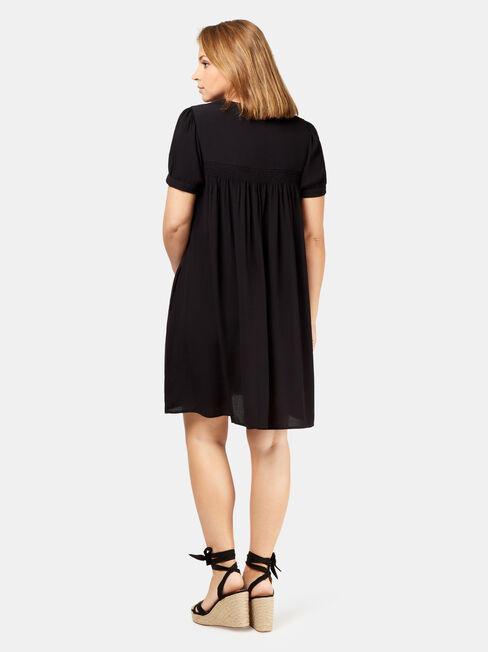 Helena Shirred Maternity Dress, Black, hi-res