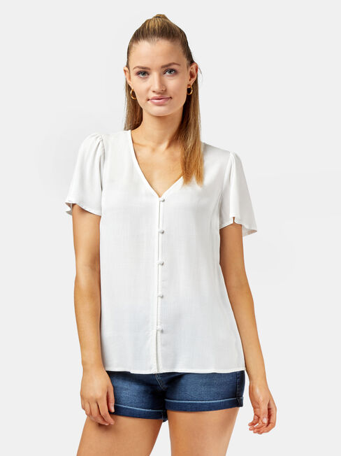Allegra Button Through Blouse, White, hi-res