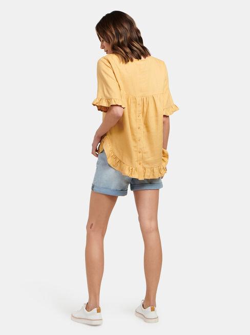 Lola Ruffle Top, Yellow, hi-res