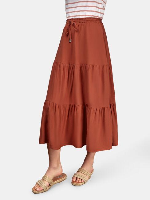 Kennedy Tiered Skirt, Orange, hi-res