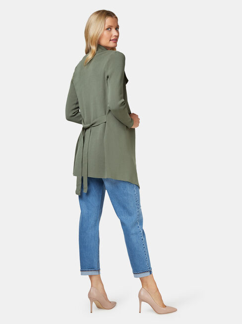 Giselle Waterfall Cardigan, Green, hi-res