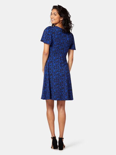 Lizzy Jersey Print Dress, Black, hi-res
