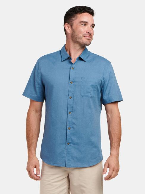 Ethan Short Sleeve Textured Shirt, Blue, hi-res