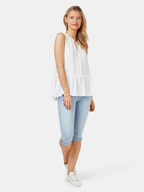Indi Textured Tank, White, hi-res